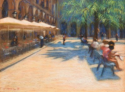 Lot 2060 - John Mackie (b.1955) ''Place Royale, Barcelona'' Signed and dated (19)99, pastel, 57cm by 78cm...