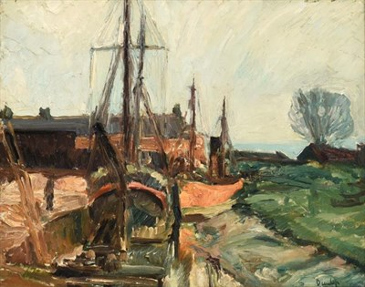 Lot 2062 - Ronald Ossory Dunlop RA (1894-1973) Irish Boatyard  Signed, oil on canvas, 39.5cm by 50cm...
