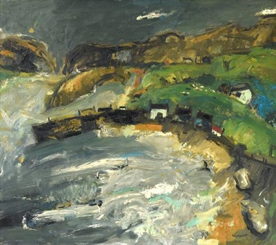 Lot 2063 - Hamish MacDonald DA, PAI (1935-2008) Scottish Scottish harbour with stormy seas Signed, oil on...