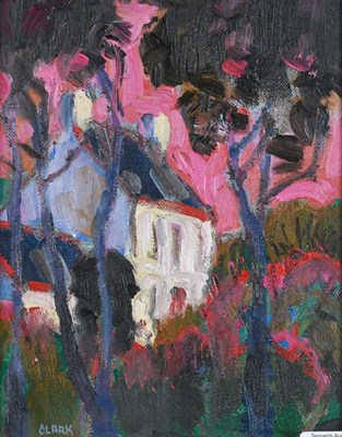 Lot 2067 - Linda Clark (Contemporary) Scottish ''House in the Sunset'' Signed, inscribed verso, oil on...