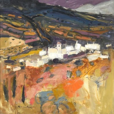 Lot 2068 - Sheila MacMillan (1928-2018) Scottish ''Capileira Spain'' Signed, oil on canvas, 57cm by 57cm...