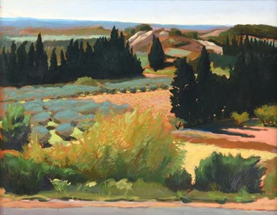 Lot 2069 - Harold William Critchley (1925-2001) ''Landscape, Provence'' Oil on canvas, 68cm by 88cm...