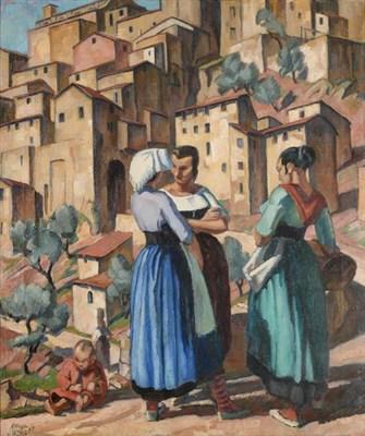 Lot 2070 - Adrian Paul Allinson (1890-1959) Figures before Anticoli Corrado, Rome Signed and dated (19)25, oil