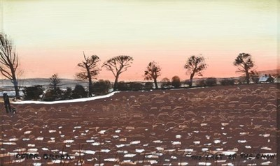 Lot 2076 - Peter Brook RBA (1927-2009) ''The Last of the Snow'' Signed and inscribed, oil on board, 17.5cm...