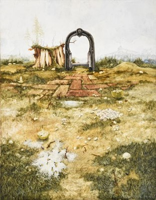 Lot 2077 - John Ridgewell (1937-2004) Landscape with archway and wasps Signed, oil on canvas, 91cm by 71cm...
