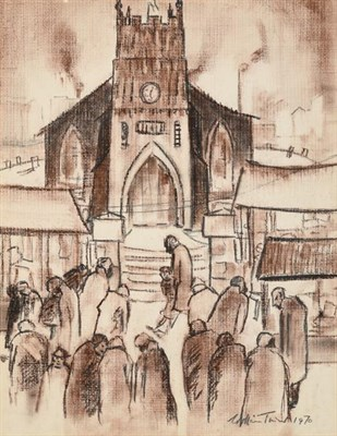Lot 2079 - William Ralph Turner FRSA (1920-2013) Figures before a church  Signed and dated 1970, pencil...