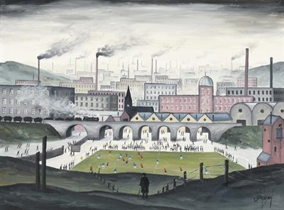 Lot 2085 - JP Wilson (Contemporary) Match of the Day Signed, inscribed verso, oil on canvas, 44.5cm by...