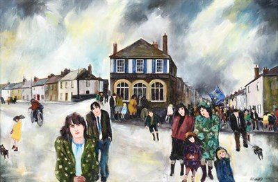 Lot 2091 - Gill Watkiss (b.1938) ''The Parade Gone By, St Just'' Signed and dated 1988-2007, signed and...