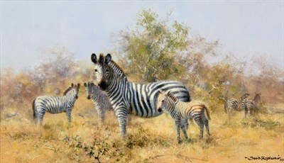 Lot 2092 - David Shepherd CBE, FRSA, FGRA (1931 -2017) Zebras Signed and dated (19)97, oil on canvas, 22cm...