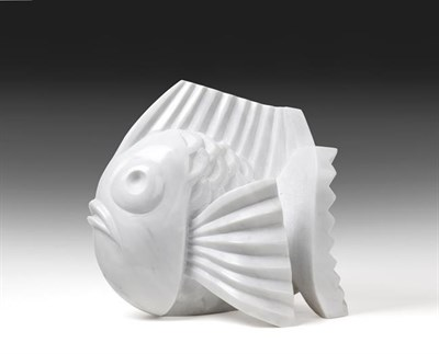 Lot 2093 - Darren Yeadon (b.1970) Fish Signed, Carrara marble, 31cm high  See illustration   Brought up by the
