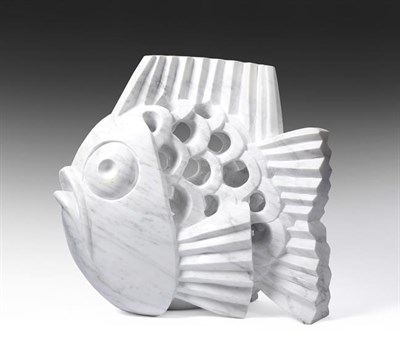 Lot 2094 - Darren Yeadon (b.1970) Fish Signed, Carrara marble, 54.5cm high  See illustration