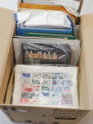 Lot 2033 - France, Monaco and Andorra, Carton with 1000s of stamps incl. one stockbook with several...
