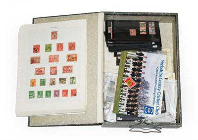 Lot 2042 - Worldwide, box-file of 1000+ mint and used stamps on cards, album pages and loose in packets,...