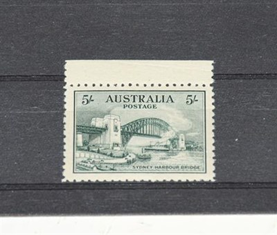Lot 2052 - Australia 1932 Sydney Bridge 5/- blue-green, SG 143, cat.£425 for hinged. This a very...