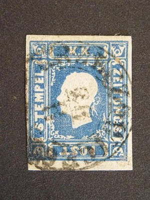Lot 2055 - Austria. 1858 (1k.05) blue newspaper stamp, SG.N28, used with neat cds, strong colour, four...