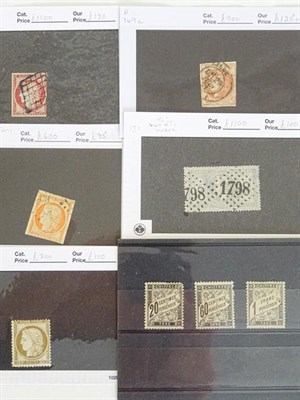 Lot 2059 - France, classics group, 8 high-cat items on counter cards, with Ceres 1fr imperf used three margins