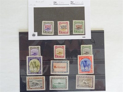 Lot 2070 - Greenland. 1945, the pictorial set mint (quality varies from disturbed gum to MNH 2kr) plus...
