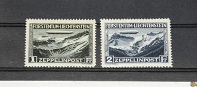 Lot 2076 - Liechtenstein 1931 Zeppelin 1f and 2f, SG 116/117, unmounted mint, signed. (2)