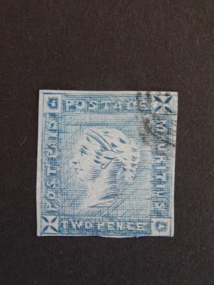 Lot 2079 - Mauritius, 1859 'Post Paid' 2d blue, intermediate state of the plate, SG.38 (cat.£1,400). Very...