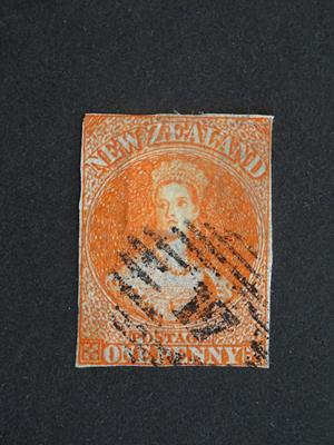 Lot 2085 - New Zealand. 1863 1d. orange-vermilion on pelure paper, SG.81, cat. £2,500. Used with neat...