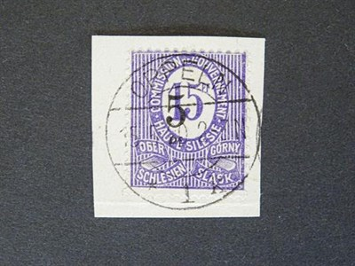 Lot 2094 - Upper Silesia. 1920, the issued-by-accident 5pf on 15pf violet, SG.11, used on piece tied by Oppeln