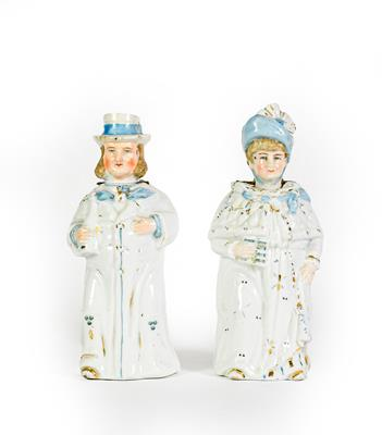 Lot 4 - A pair of Ceramic figures, modelled as a man and female, each with white bodies heightened with...