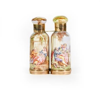Lot 6 - A Gilt-Metal Mounted Ceramic Double Scent-Bottle, each side tapering and decorated with figures...