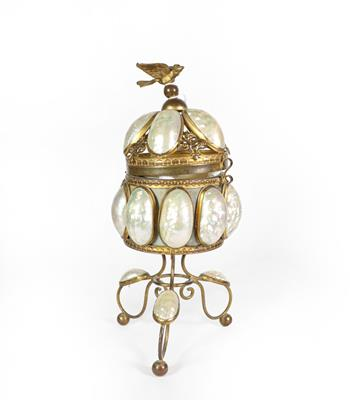 Lot 7 - A Brass Mounted Shell Trinket Box, on three scroll feet, the hinged openwork cover with bird...