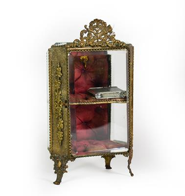 Lot 8 - A Gilt-Metal Mounted Miniature Display Cabinet, on scroll feet, with ribbon-tied love trophy...