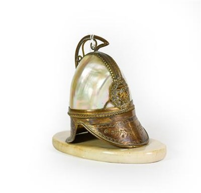 Lot 10 - A Gilt-Metal and Shell-Mounted Watch-Stand, in the form of a helmet, the hinged cover opens to...