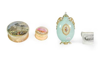 Lot 16 - A Graingers Worcester Porcelain Flask, compressed oval and with gilt-heightened handles, the...