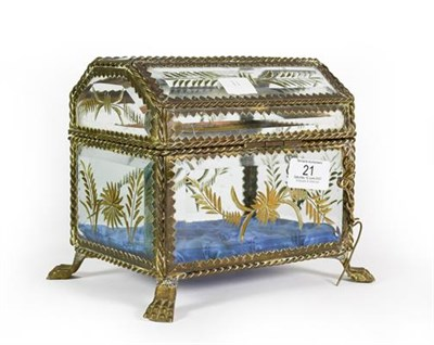 Lot 21 - A Brass-Mounted Glass Casket, Possibly French, oblong and on paw feet, with twisted wire...