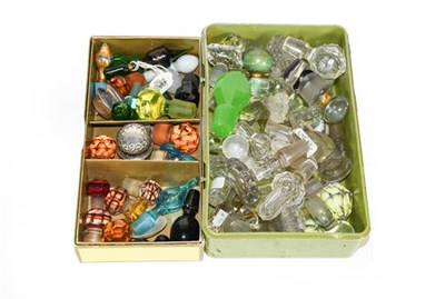 Lot 23 - Three Boxes of Assorted Glass Scent and Other Bottle-Stoppers, variously formed and a small...