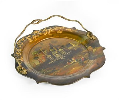 Lot 25 - A Victorian Papier Mache Cake Plate, shaped circular, the centre with a mother-of-pearl inlaid...