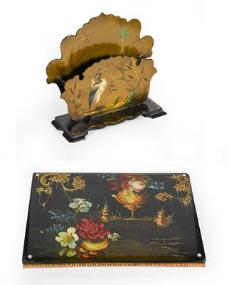 Lot 27 - A Victorian Papier Mache Letter Rack and Desk-Blotter, the letter-rack painted with a bird catching