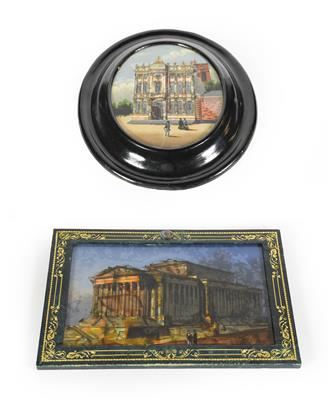 Lot 28 - Two reverse painted glass pictures, one oval depicting the Maison Rubens, in black painted...