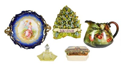Lot 29 - A collection of Ceramics and Glass, including: a Belleek Willetts jug, signed 'A Barnett' and dated