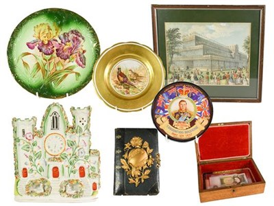 Lot 30 - A Collection of Assorted Items, including: a wood box, the hinged cover set with a reverse...