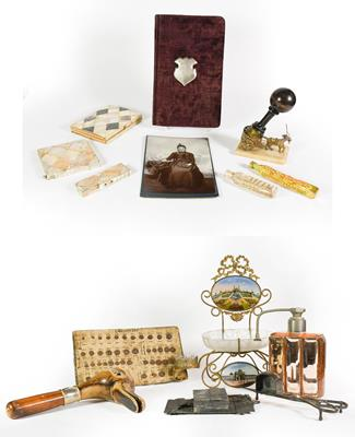 Lot 31 - A Collection of Assorted Items, including: a gilt-metal stand, the back and base each with a glazed