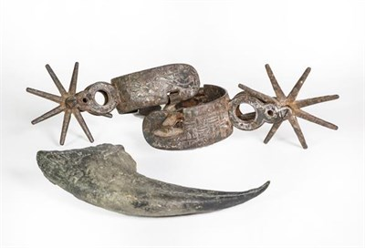 Lot 33 - Two Steel Spurs, Possibly South American, with differing decoration; Together With: a...