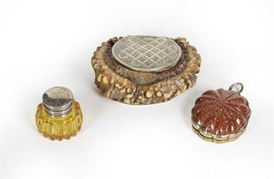 Lot 38 - Three Metal-Mounted Vinaigrettes, one formed from an antler, the hinged cover engraved with...