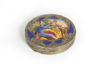Lot 39 - A Continental Silver and Enamel Compact, Stamped '800' Only, Possibly Italian, circular, the hinged