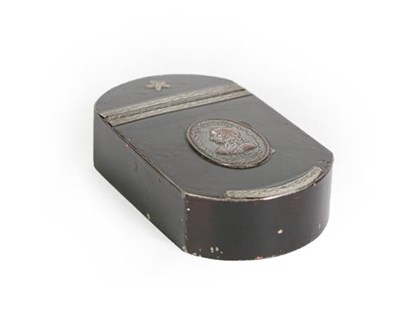 Lot 40 - A 19th Century Painted Tin Snuff-Box, shaped oblong, the hinged cover set with a silver plated...