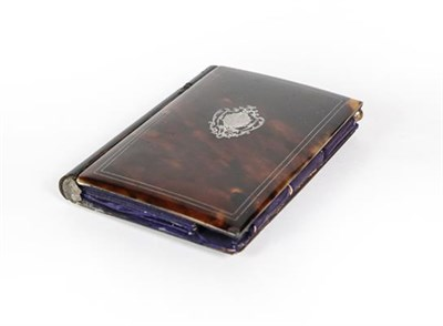 Lot 41 - A Silver Inlaid Tortoiseshell Card-Case, oblong, the hinged cover with silver inlaid vacant...