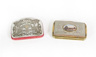 Lot 42 - A Victorian Silver and Mother-of-Pearl Purse, oblong, the cover with silver foliage scroll overlay