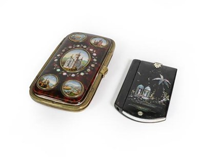 Lot 43 - A Victorian Papier Mache Aide Memoire and a Brass-Mounted Faux Tortoiseshell Cheroot case, the...