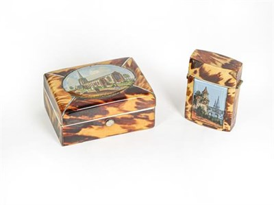 Lot 44 - A Bone and Tortoiseshell Veneered Trinket-Box and Vesta-Case, each oblong, the hinged cover of...