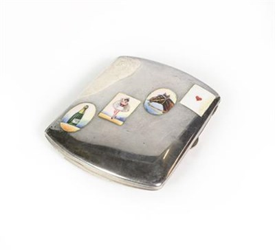 Lot 46 - A German Silver and Enamel Card-Case, With Crown and Moon Standard Mark, Dated 1918, oblong,...