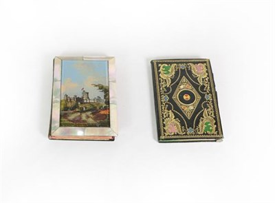 Lot 47 - A Victorian Mother-of-Pearl and Papier Mache Aide Memoire, oblong, the cover with a reverse painted