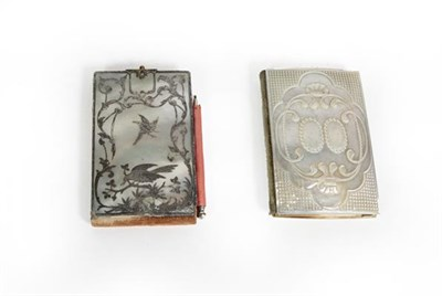 Lot 48 - Two Victorian Mother-of-Pearl Aide Memoire, each oblong, one carved with two beaded cartouches...